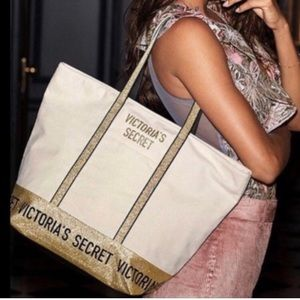 Victoria's Secret Canvas Zip Weekender Tote Gold